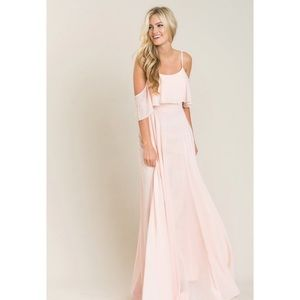 Dresses & Skirts - Blush pink the shoulder maxi dress NWT